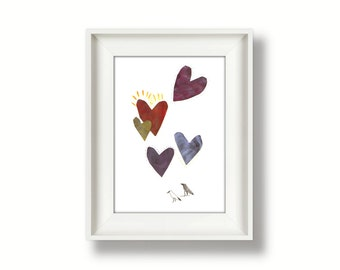 Printable wall art for instant download, Hearts collage drawing - Lovebirds - 4x6