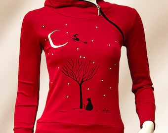 T-shirt red with hood and zipper hand-painted tree