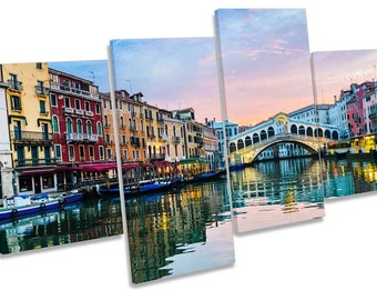 Rialto Bridge Venice Italy Multi CANVAS WALL ART Box Frame Print Picture