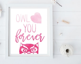 Owl Love you Forever Pink Ombre Watercolor