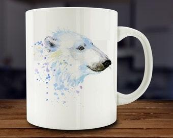 Polar Bear Mug, Watercolor Polar Bear Coffee Mug, Kitchen Art (A166)