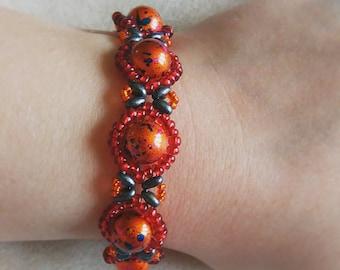 Handmade Adult Red and Orange Bracelet