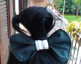 Black and white grey hair bow