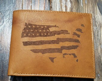 Laser Engraved Leather Wallet // American Flag // Americana // Customizable