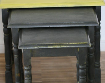 Hand-painted side tables, nesting tables, nesting tables