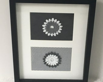 Picture - Black frame with fabric and flowers, black and white, wall decor, framed fabric, unique wall decor, wall hanging, picture, frame