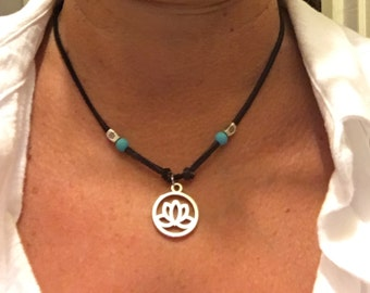 Brown Leather Lotus Necklace