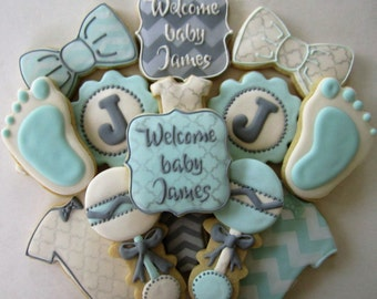 Baby boy shower cookies/new arrival cookies