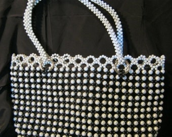 Beaded Smaller Tote Bag Women's Evening Purse White Classy Unique Handmade