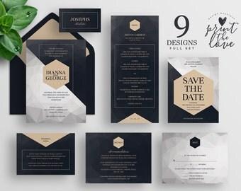 Printable Wedding Invitation Set, Printable Wedding Invitation Suite, Printable, Wedding invitation suite template, Poly Suite (WS015)