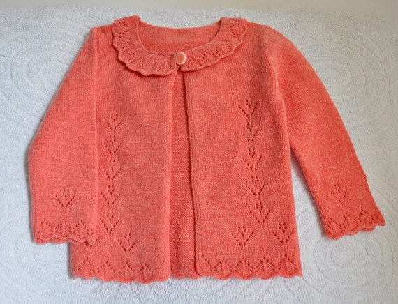 Jacket for girls Cardigan knit coral Handmade  sweater Girls Clothing knitted girls Ready to Ship childrens handmade