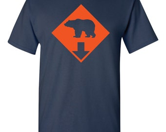Chicago Bears Football Bear down Printed High Quality Shirt Navy Short Sleeve All Sizes Available
