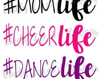 Hashtag Life Decal-#Life decal-Hashtag Life Sticker-#Life Sticker-Momlife-Cheer Life-Dance Life-Soccer Life-Baseball Life- Softball Life
