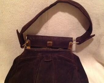1940's Suede Choclolate Brown Ladies Handbag