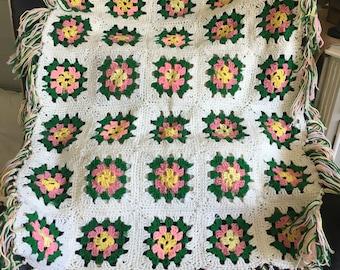 Vintage Crochet Granny Square Afghan