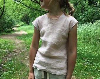 Pastel pink linen top for girls / short sleeves / ribbon back