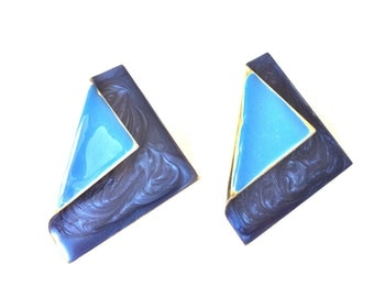 Two Toned Blue Enamel Pierced Earrings/Gold and Blue Enamel Earrings/Art Deco Earrings/Vintage Blue Earrings/Enamel Wear/Two Toned Blue