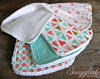 Baby Girl Burp Cloth Set of 4, Mint, Coral, Aqua, Gold