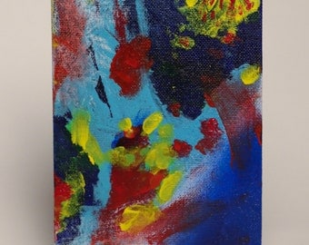 "Movement in the Primaries 5x7"" original acrylic panel"
