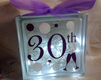 Decorative glass block with age, lights and ribbon choice of colours avaialable