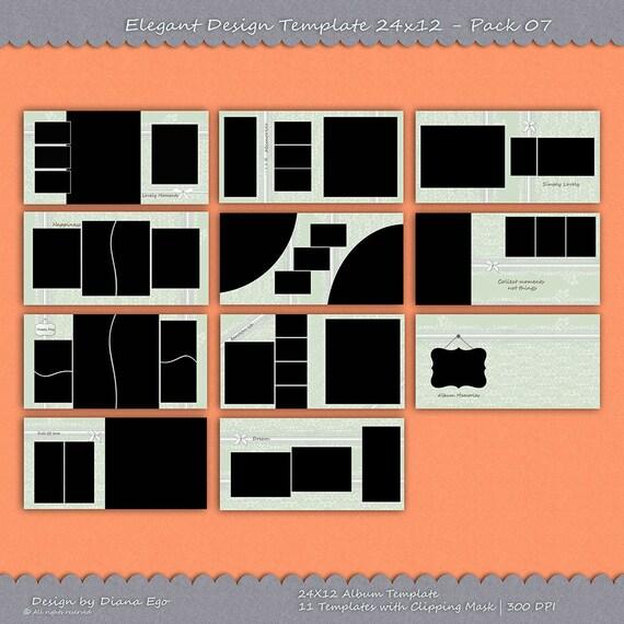 24x12 Photo Album Template Pack, 11 Templates, Photo