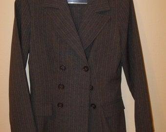 Women's Gray Pinstripe Suit Size 3/4