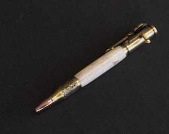 Antique Brass Deer Antler Bolt Action Pen