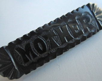 Victorian Whitby Jet Mourning brooch,'Mother',  hand carved