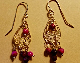 Ruby Crazy Lace Agate Earrings