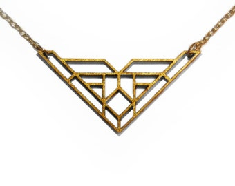 Gold Geometric Laser Cut Wooden Necklace : #12