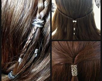 Two Bead Hair Beading Kit Viking hair beads Celtic hair beads boho gypsy bohemian steampunk jewelry hair beading