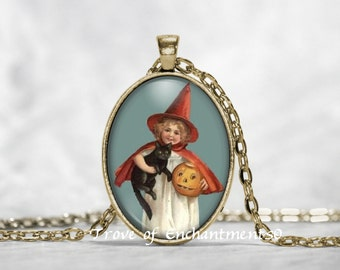 Little Witch W/ Pumpkin and Cat Halloween Vintage art image oval glass pendant necklace w/rolo chain