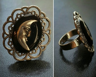 Gothic moon cameo adjustable ring black and silver tone