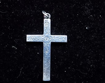 Lovely Silver Engraved Cross 1950's - 60's