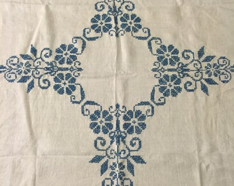 Vintage Cross Stitch 36 inch Square Table Cloth