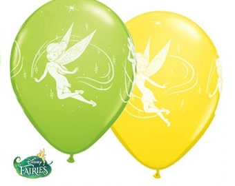 """6 x 11""""  Happy Birthday with Disney's Fairies Tinkerbelle Logo Yellow and Lime Green Latex Balloons by Qualatex Children's Birthday Party"""