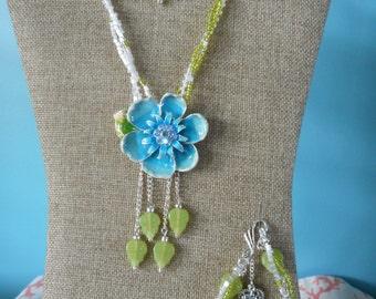 Necklace, Earrings, Seed Beads, Blue Flower, Bracelet, Set