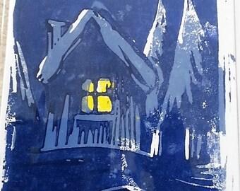 One Snowy Night Christmas Card (handmade linocut)