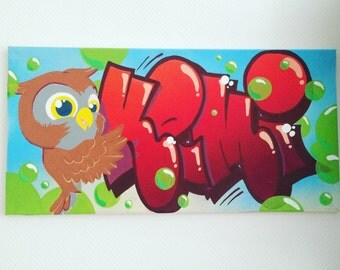 canvas graffiti KEMI OWL room deco