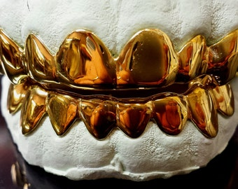 10K Solid Yellow Gold Custom fit REAL Gold Grill Grillz Gold Teeth