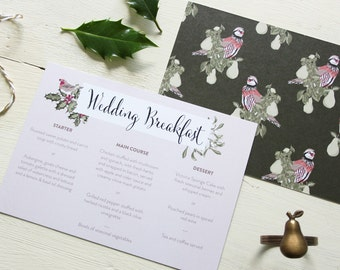 The Love Pear Wedding Breakfast Menu, Winter Wedding Menu, Festive Wedding Menu, Christmas Wedding Breakfast Menu