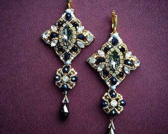 "Evening earrings ""Black diamond"""