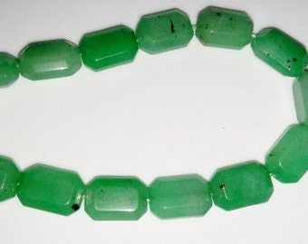 Adventurine beads rectangle beads faceted beads 10x15mm beads green stone beads semiprecious stone semiprecious beads adventurine
