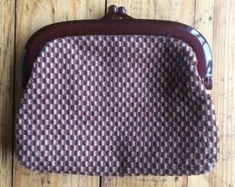 Cute woven brown clip purse