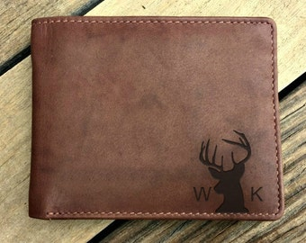 Gift for deer hunter • hunter gifts • gift for hunter •deer antlers •hunting gifts • gift for dad •personalized men's wallet • Toffee  7751*