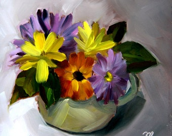 Pitcher of Sweet Flowers, Small Original Oil Painting on gessobord, 6 x 6 Inches, by Merrill Weber, Flower Painting, Floral Painting