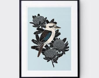 Kookaburra & Waratah Art Print / Australian Birds / Giclee Print / Poster / Bird Print