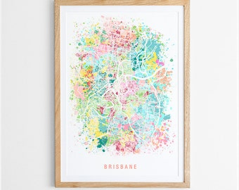 Briabane Map Print - Abstract Map / Queensland / Australia / City Print / Australian Maps / Giclee Print / Poster