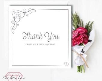 Wedding Thank You Card - Wedding - Thank You Card - Printed Cards - Digital Download File - Personalised