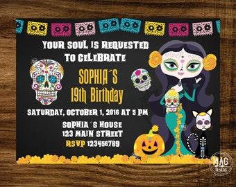 Sugar Skull Birthday Invitation - Halloween Girl Skull - Halloween Party Invitation -  Day of the Dead Invite -Halloween invitation -